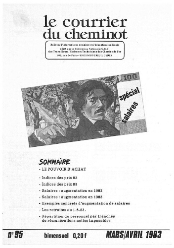 Le Courrier du cheminot, n° 95, Mars- Avril 1983
