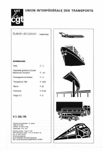 Bulletin de liaison de l'Union Interfédérale des Transports, n° 15, Avril 1998