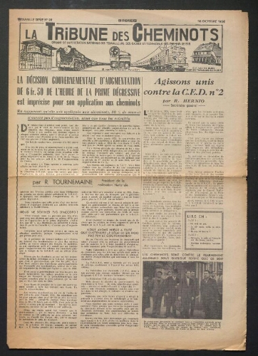 La Tribune des cheminots, n° 99, 15 octobre 1954