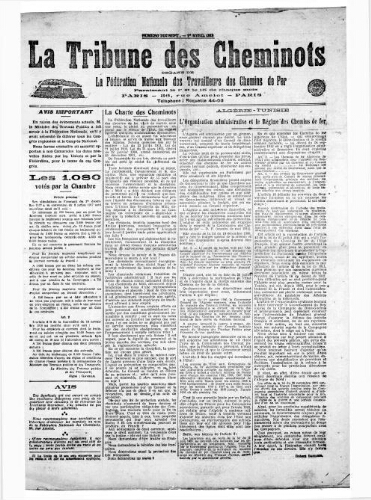 La Tribune des cheminots, n° 17, 1er avril 1918
