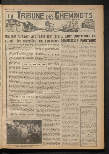 La Tribune des cheminots, n° 132, 1er avril 1956