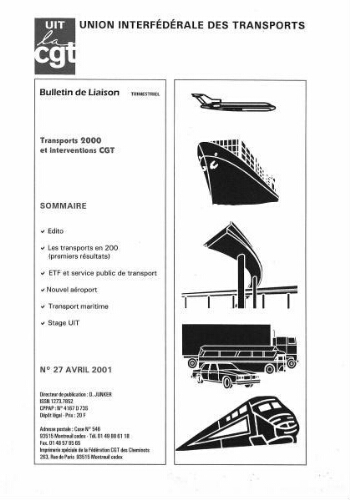 Bulletin de liaison de l'Union Interfédérale des Transports, n° 27, Avril 2001