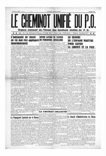Le Cheminot unifié du PO, n° 35, Octobre 1937