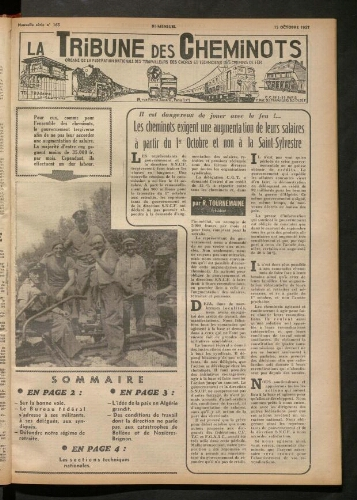 La Tribune des cheminots, n° 165, 15 octobre 1957