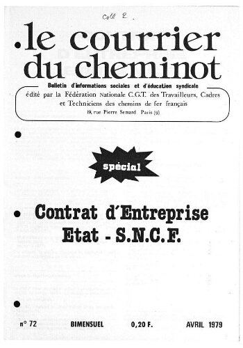 Le Courrier du cheminot, n° 72, Avril 1979