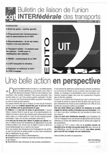 Bulletin de liaison de l'Union Interfédérale des Transports, n° 40, Septembre 2004