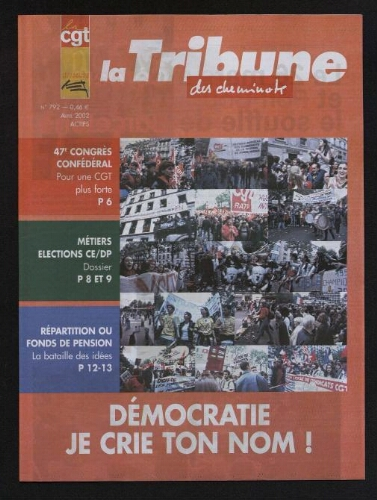 La Tribune des cheminots [actifs], n° 792, Avril 2002