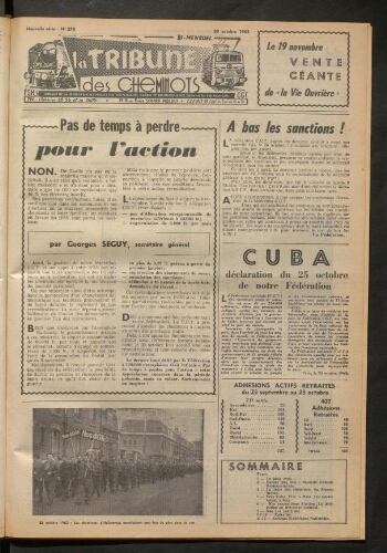 La Tribune des cheminots, n° 278, 30 octobre 1962