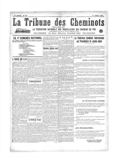 La Tribune des cheminots, n° 87, 1er avril 1921