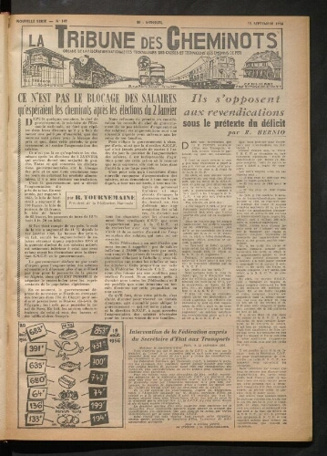 La Tribune des cheminots, n° 141, 15 septembre 1956