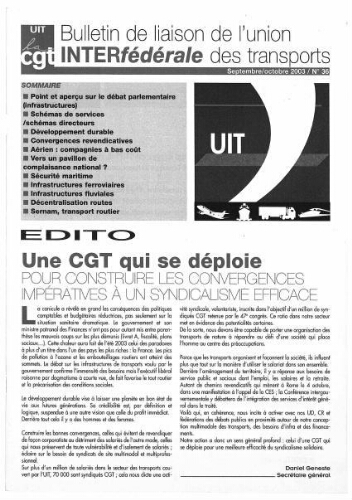 Bulletin de liaison de l'Union Interfédérale des Transports, n° 36, Septembre 2003