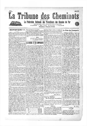 La Tribune des cheminots, n° 2, avril 1917