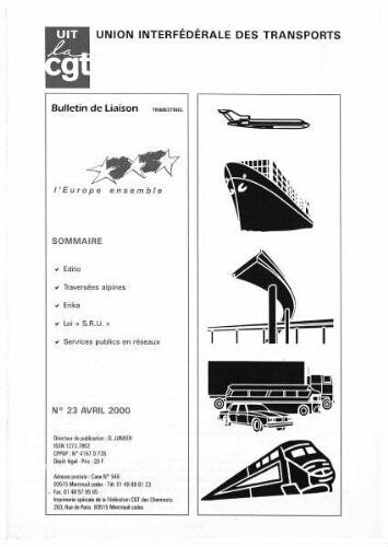 Bulletin de liaison de l'Union Interfédérale des Transports, n° 23, Avril 2000